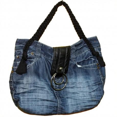 Дизайнерская джинсовая женская сумочка - Кожаный язычок