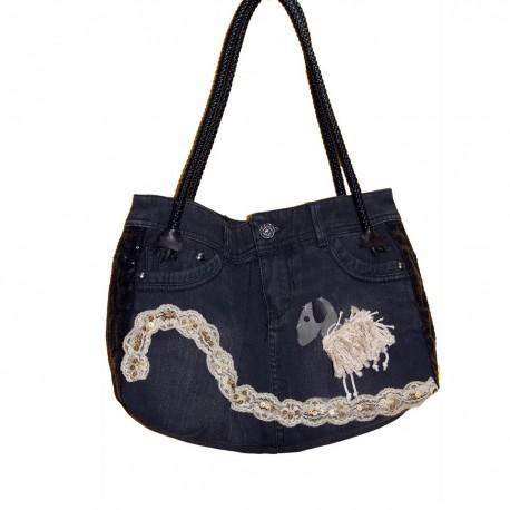 Дизайнерская джинсовая женская сумочка - Овечка