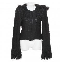 Красивая вязаная куртка-кофта р.40-42 с бахромой