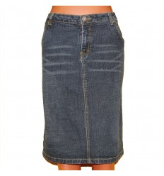Классическая джинсовая юбка с вышивкой на задних карманах р.54