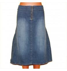 Юбка джинсовая с защипами и вставкой сзади р.52