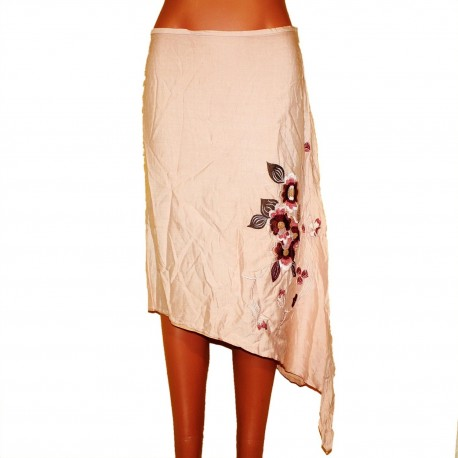 Поплиновая летняя юбка с вышивкой