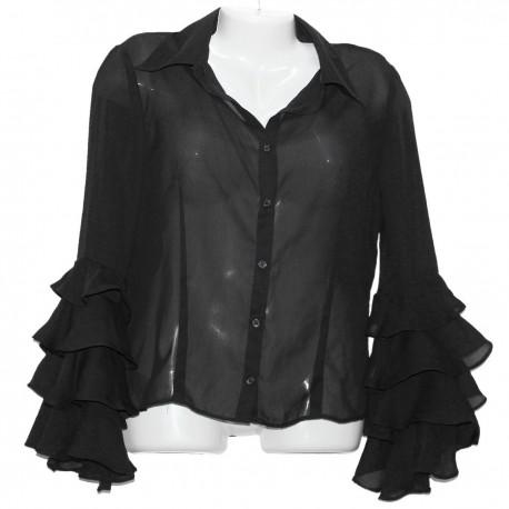 Полупрозрачная блузка с роскошными рукавами р.46-48