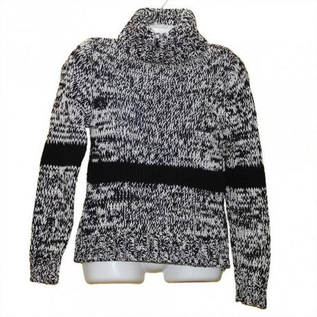 Меланжевый чернобелый толстый свитер р.48-50