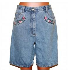 Удобные глубокие джинсовые бриджи с вышивкой