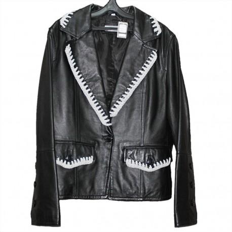 Куртка кожаная р.48 с белой отделкой
