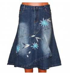 Дизайнерская оригинальная джинсовая юбка с вышивкой бисером