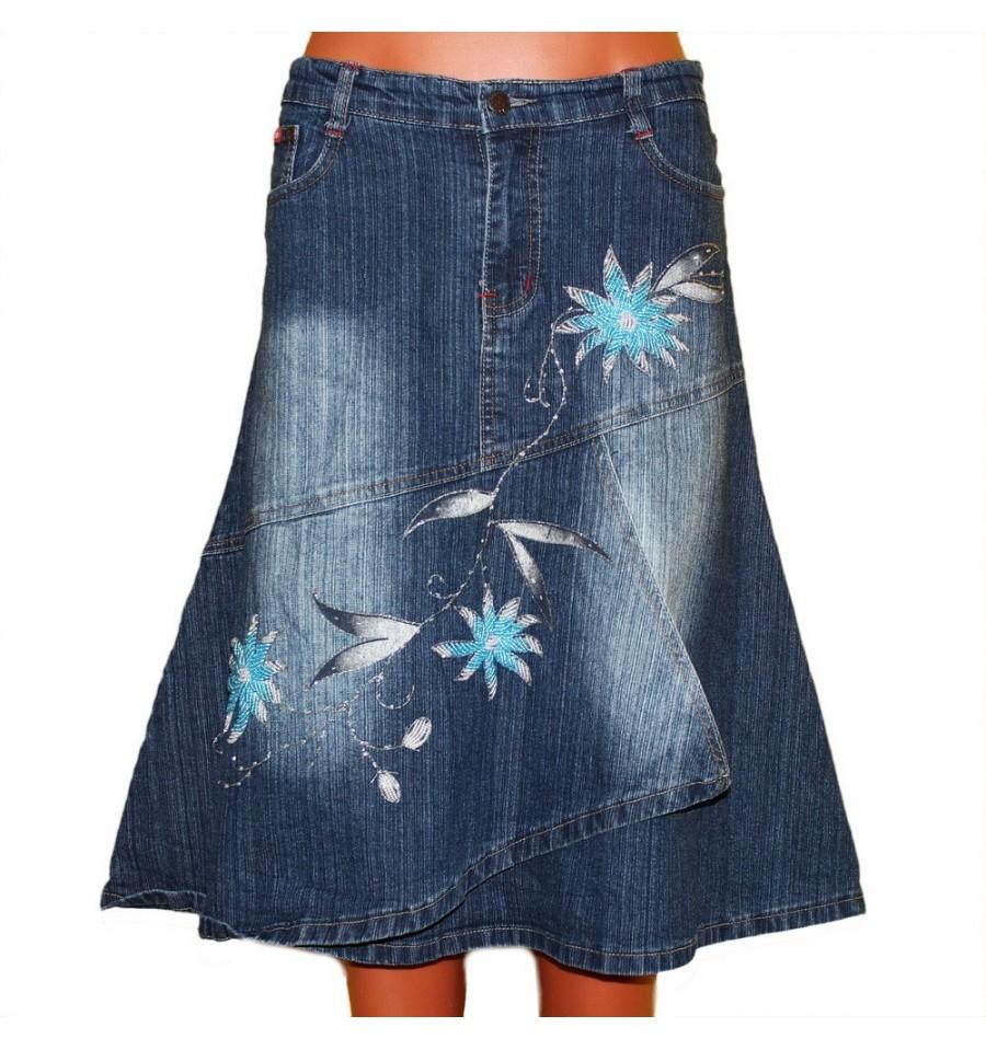 Джинсовая юбка хаки