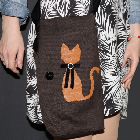 Дизайнерская тканевая сумочка - Кошка и шарик