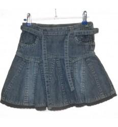 Дизайнерская детская джинсовая юбочка с кружевом