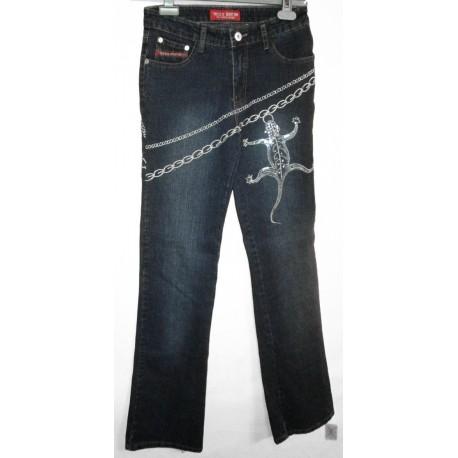 Дизайнерские оригинальные джинсы с ящерицей из блесток