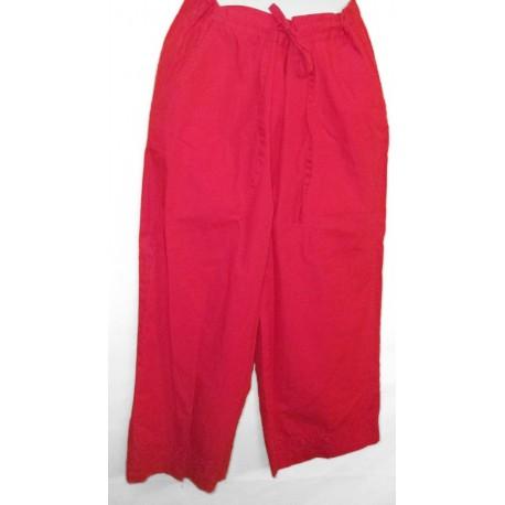 Брючки красные х/б с вышивкой ришелье