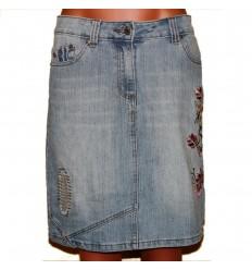 Юбка джинсовая оригинальная с вышивкой и отделкой