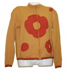 Яркая необычная вязаная куртка-кофта